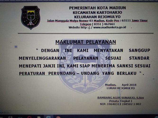 Maklumat Pelayanan Kelurahan Rejomulyo